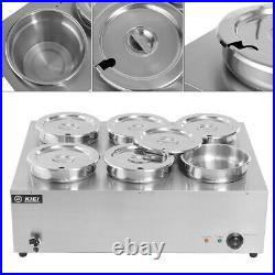 1 x Bain Marie 2 6 Pots Stainless Steel Pot Hot Food Sauce Warmer Barrel Display