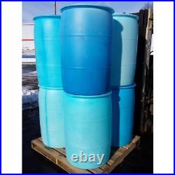 55 Gal Industrial Plastic Drum Rain Barrel Container Outdoor Water Storage Blue