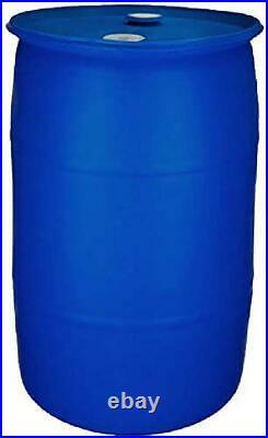 55 Gallon Water Storage Barrel Food Grade Material BPA Free Blue Closed Top NEW
