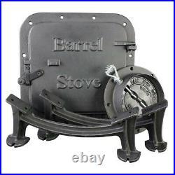 BARREL STOVE Heavy Duty Portable Cast Iron Camp Fireplace Accessory Parts Black