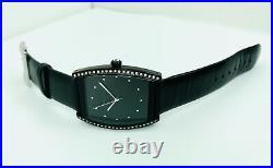 BCBGMAXAZRIA Ladies BG6164 Barrel Shape Black Plated Case Leather Strap Watch