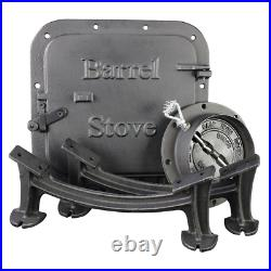 Barrel Camp Stove Kit Heavy Duty Cast Iron Hunting Fishing Cooking Grilling