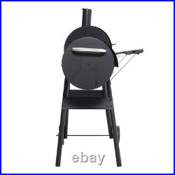 Barrel Charcoal BBQ Barbecue Grill for Outdoor Kitchen Prep Cooking with Wheels