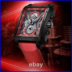 Bersigar Rectangular Barrel Type Quartz Fashion Luxury Steel Wrist Mens Watch