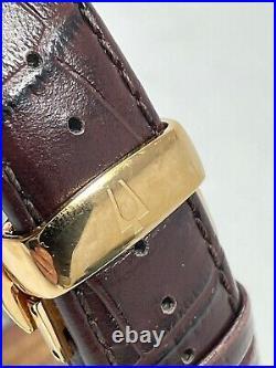Bulova Ambassador 97B173 Quartz Barrel Tonneau Watch Rose Gold Dress Brown Band