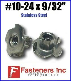 (CHOOSE QTY) #10-24 x 9/32 Long Barrel Stainless Steel T-Nut Tee Nut 3-Prong