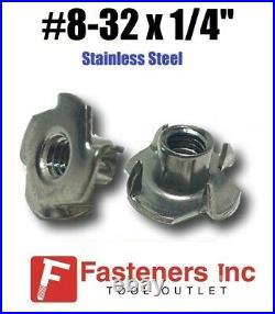 (CHOOSE QTY) #8-32 x 1/4 Long Barrel Stainless Steel T-Nut TNUT Tee Nut 3-Prong