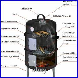 Charcoal BBQ Grill 3-in-1 Heavy Duty Smoker Outdoor Garden Camping with Family