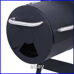 Charcoal BBQ Grill with Offset Smoker Barrel Trolley Grill Outdoor Picnic