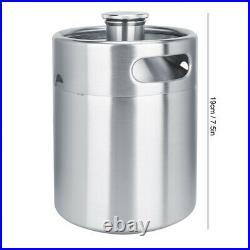 Coffee Dispenser Stainless Durable Beer Barrel 2L Food-grade Homebrew Nitrogen