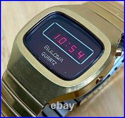 Collectible Vintage Bulova Men Barrel Gold Tone RED LED Digital Watch HoursDate