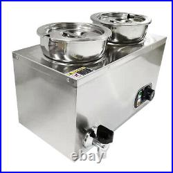 Commercial Heat Electric Soup Sauce Food Barrel Warmer with 2 Pots Stainless steel