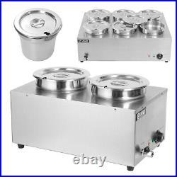 Commercial Stainless Steel Bain Marie Buffet Food Warmer 2/6 Pots Large Barrel