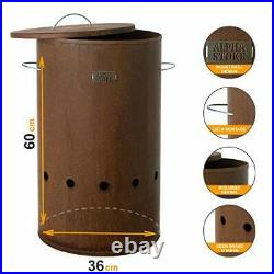 Design Fire Barrel Corten Steel & Stainless Steel L (36x60cm)