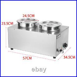 Electric 2 Pot Bain Marie Round Pot Catering Soup Sauce Food Warmer Barrel 1200W