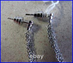 Emporio Armani signed Earrings steel Onyx Grey MOP chain for pierced ears New