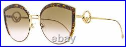 Fendi Butterfly Sunglasses FF0290S VH8M2 Gold/Brown 58mm 290