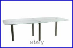 Frosted Glass and Stainless steel Boardroom table 120cm x 240cm (Barrel shaped)