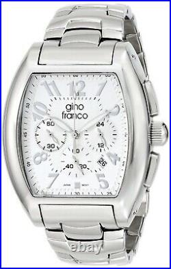 Gino Franco Men Barrel Shaped Stainless Steel Watch with Chronograph & Bracelet