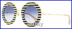 Gucci Band Sunglasses GG0113S 008 Gold/Black/Cream 44mm 113