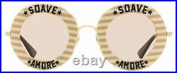 Gucci Soave Amore Sunglasses GG0113S 009 Gold/Nude/Cream 44mm 113