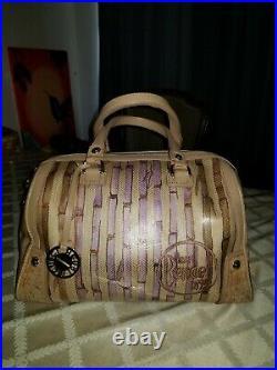 Henri Bendel Bamboo Print Barrel Hand Bag RARE! HARD TO FIND