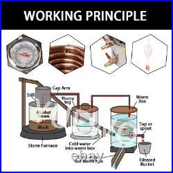 Home Distiller Moonshine Still Alcohol Water Oil Whisky Barrel 3 POTS 10-30L DIY