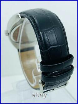 Kenneth Cole KC1227 Tonneau / Barrel Shape Case Black Leather Strap Watch