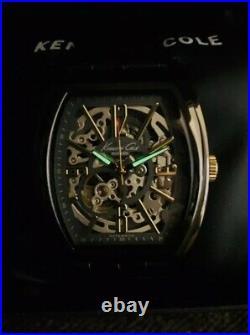 Kenneth Cole KC1895 Mens Skeleton See Through Gunmetal IP Barrel Case Watch