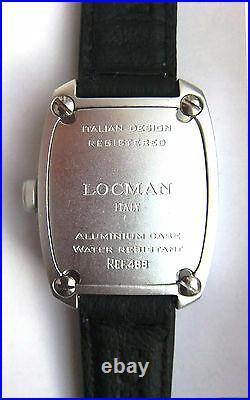 LOCMAN CLASSIC BARREL-SHAPED SPORT BLACK WATCH, Model 488. NEW, Made in Italy
