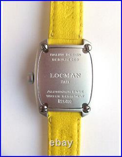 LOCMAN Italy CLASSIC BARREL-SHAPED SPORT WATCH, Model 488, SUNNY YELLOW. NEW