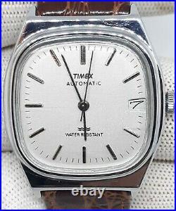 MINT! $ Vintage Timex Mens Automatic Viscount Silver Barrel CROCODILE BAND Watch