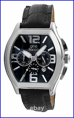 Men's Barrel Chronograph Analog Stainless Steel Case Genuine Leather Strap Watch