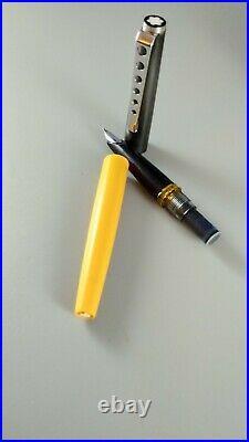 Mont Blanc, Carrera, Fountain Pen, Yellow Barrel, Stainless Steel Cap working