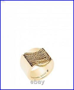 New Michael Kors Gold Tone, Fringe Chain Swag Barrel Ring, Band Mkj5795 Size 7