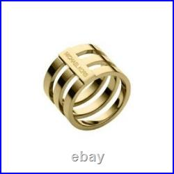 New Micheal Kors Gold Tone Tri-stack Wide Barrel Ring Band Mkj4053