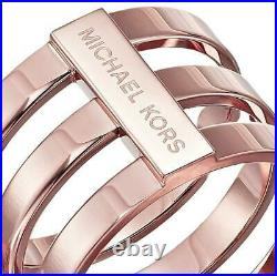 New Micheal Kors Rose Gold Tone Tri-stack Wide Barrel Ring Band Mkj4055