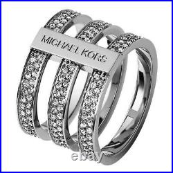 New Micheal Kors Silver Tone, Pave Tri-stack Wide Barrel Ring Band Size Mkj3278