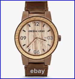 New Original Grain OG-10-003-L-DBR Barrel Whiskey Espresso Leather Watch