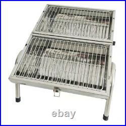 Outdoor Flamemaster Portable Grill Barrel Barbecue Charcoal BBQ Stainless Steel