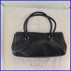 PRADA Black Leather Barrell Bag Made in Italy