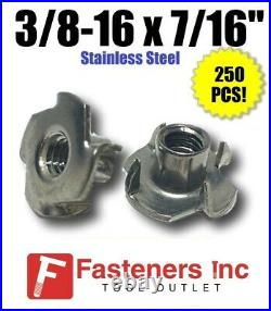 (Qty 250) 3/8-16 x 7/16 Long Barrel Stainless Steel T-Nut Tee Nut 4 Prong