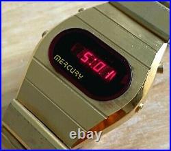 RARE Vintage Mercury Men Gold Tone Barrel RED LED Digital Chronograph WatchDate