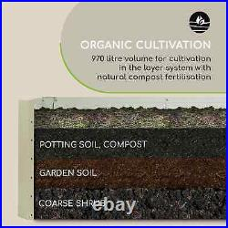 Raised Garden Flower Bed Plant Pot Planter 180x60x90cm 970l Steel Beige