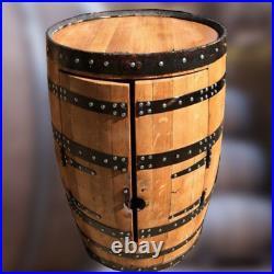 Recycled Solid Oak Whiskey Barrel Wine Rack Drinks Cabinet Balmoral Vintage