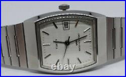 SUPER RARE Timex Marlin 1985 Silver Date Barrel Mens Warch Mechanical CLEAN RUNS