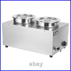 Stainless Steel 2 Pot Mrain Marie Food Warmer & Hot Barrel Kitchen Warming Tool