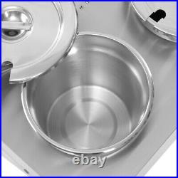 Stainless Steel 6 Pots Barrel Soup Sauce Heat Catering Food Warmer Bain Marie