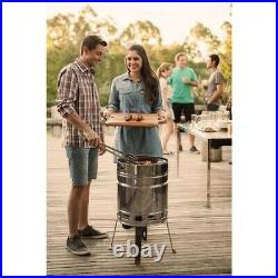 Stainless Steel Barrel Charcoal BBQ Grill Barbecue Griddle Burgers Sausages NEW