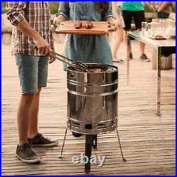 Stainless Steel Beer Barrel Grill Charcoal Barbeque Outdoor Garden Patio Smoker